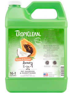 2 in 1 shampoo for animals with papaya and coconut, Tropiclean 1 gallon concentrate