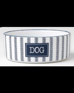 "Blue and White Ceramic Dog Bowl, Small 5 """
