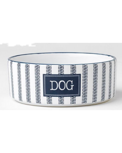 Blue and white ceramic dog bowl