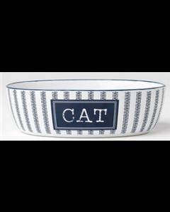 Blue and white ceramic cat bowl