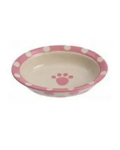 Polka beige and pink ceramic bowl for dogs and cats, Petrage