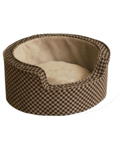 Bed for dogs and cats comfy sleeper round, brown and beige tiles, small, K&H