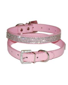 Faux leather dog and cat collar with rhinestone