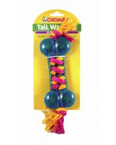 Jouet os avec corde interactif Tail Waggers pour chiens, bleu, Chomper