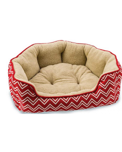"""Dog bed, chevron scallop red 31 """", Comfort spot"""